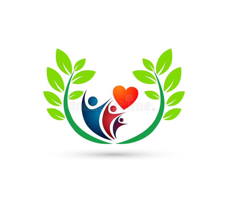 People family care logo with heart shape icon winning happiness health together team success wellness health symbol vector illustration