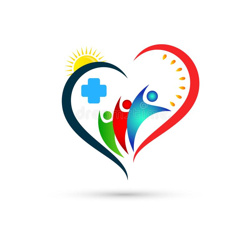 Heart health care medical cross nature leaves people family Icon Logo Design Element. Family Help together logo stock illustration