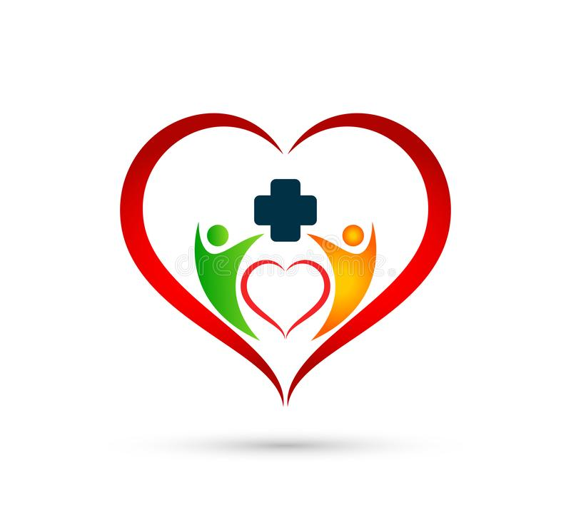 People family medical care logo in hear shape icon winning happiness health together team success wellness health symbol. On white background stock illustration