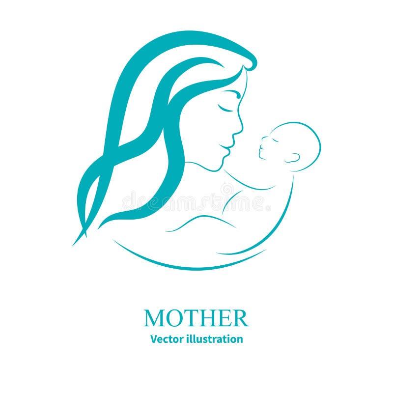 Logo mama i nowonarodzony dziecko royalty ilustracja