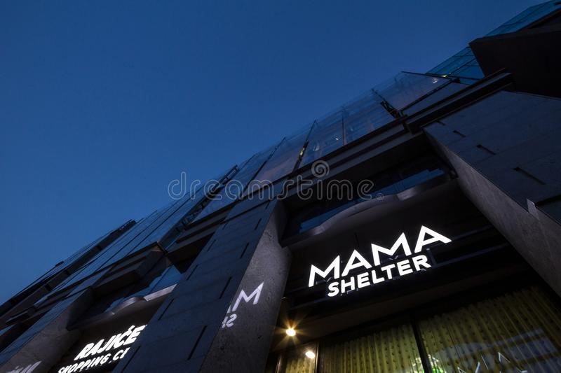 Logo of Mama Shelter on their newly opened hotel in Belgrade. Mama Shelter is a luxury hispter hotel brand from France. Picture of the Mama Shelter sign on their royalty free stock images