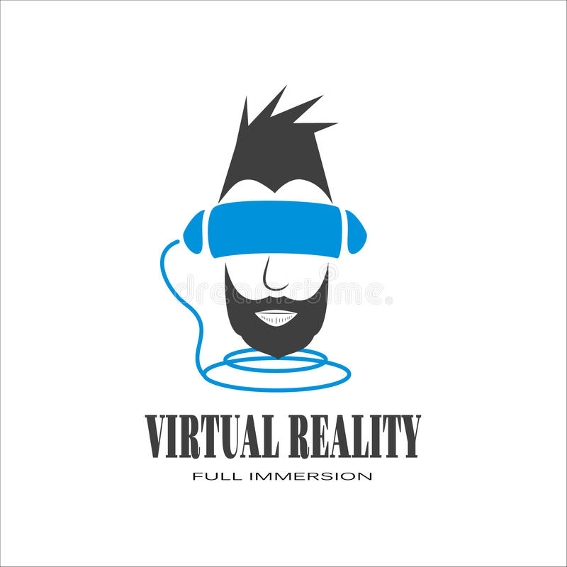 Logo man with a black beard immersed in the virtual reality of c stock photography