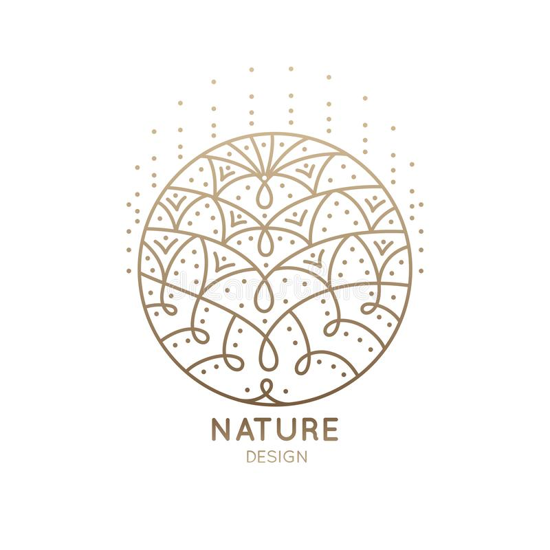 Logo mandala abstract nature. Pattern logo of floral element. Abstract flower mandala.Linear emblem for design of natural products, flower shop, cosmetics and vector illustration