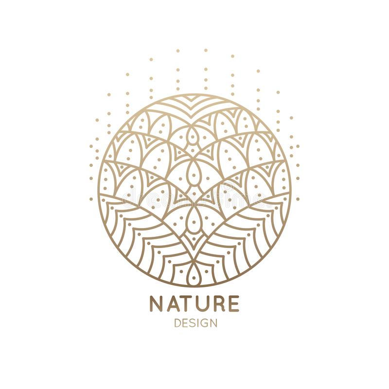 Logo mandala abstract nature. Pattern logo of floral element. Abstract flower mandala.Linear emblem for design of natural products, flower shop, cosmetics and royalty free illustration