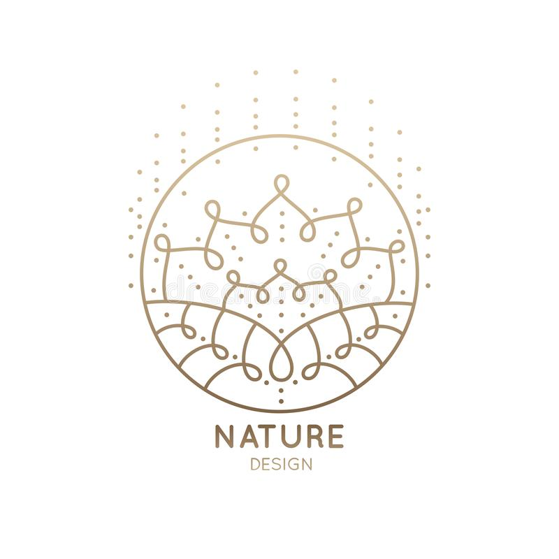 Logo mandala abstract nature. Pattern logo of floral element. Abstract flower mandala.Linear emblem for design of natural products, flower shop, cosmetics and stock illustration
