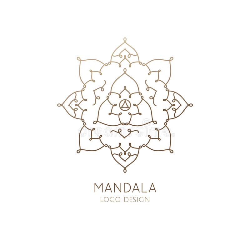 Logo mandala. Vector logo of floral element. Abstract flower mandala. Linear emblem for design of natural products, flower shop, cosmetics and ecology concepts vector illustration