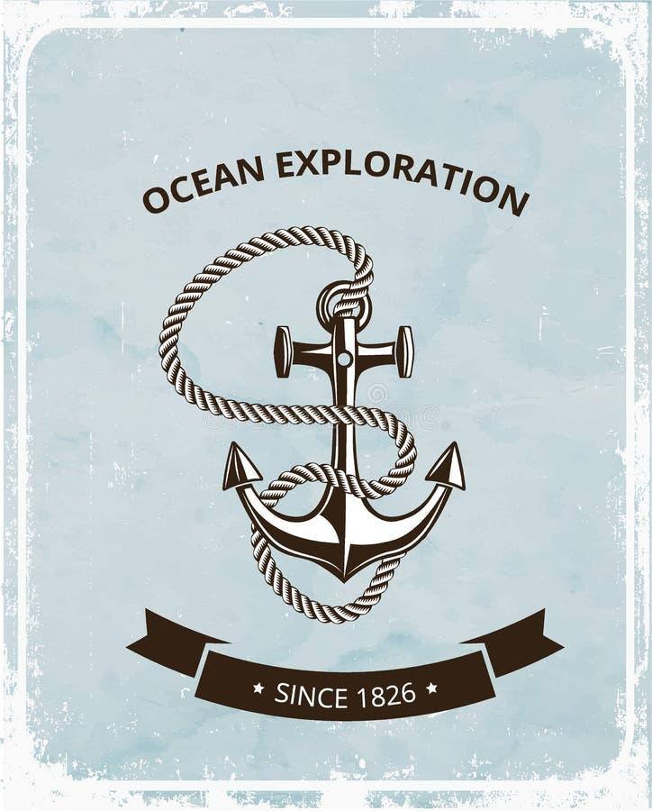 Logo maritime de symboles - ancre avec la corde et avec le ruban noir pour le texte photos stock