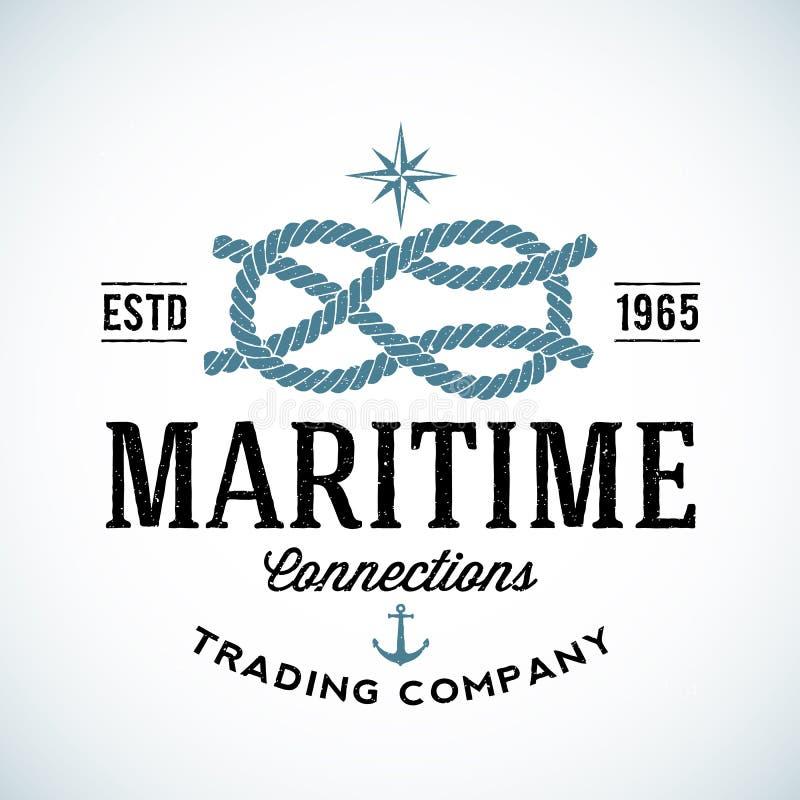 Logo marittimo d'annata di vettore della società per azioni illustrazione vettoriale