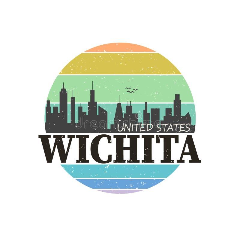 Logo marki Wichita Destination konstrukcja t-shirt ilustracji wektorowej royalty ilustracja