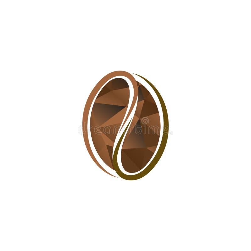 Logo marrone astratto isolato del chicco di caffè di colore Logotype energetico della bevanda Icona naturale del seme Illustrazio illustrazione di stock