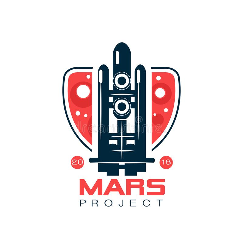 Logo for Mars project with abstract image of flight rocket. Space shuttle in line style with dark blue and red colors royalty free illustration