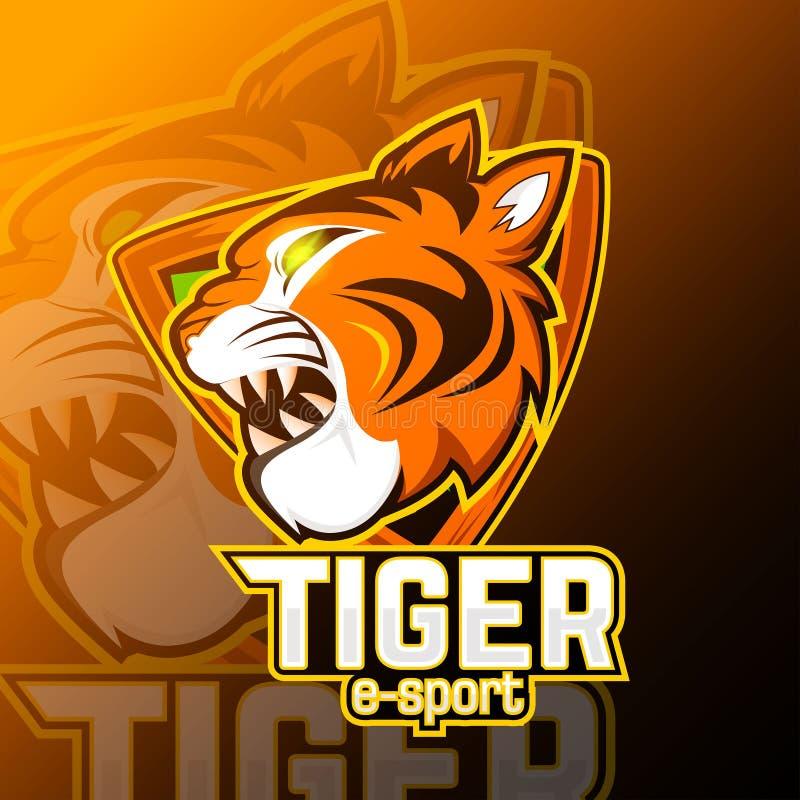 Logo Mascot do znaku: tygrysy z tłem ilustracji