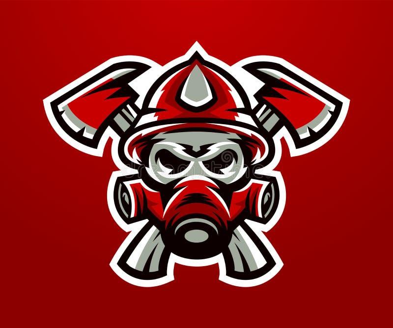 Logo, mascot firefighter. Lethal task, a dangerous profession, skull, skeleton, axes on the cross, mask, rescue squad stock illustration