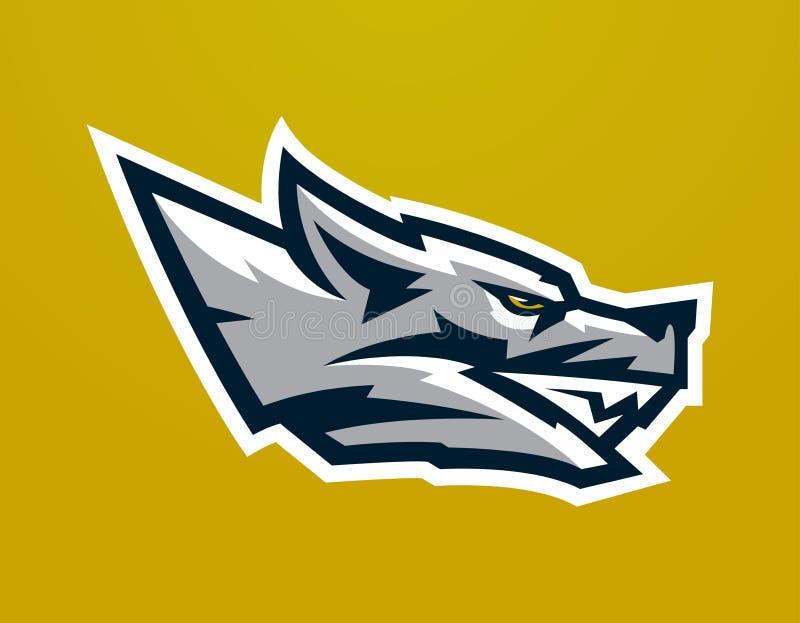 Logo, mascotte de loup agressif prête à attaquer Prédateur de grimace, identité dangereuse de bête pour le club de sports, sociét illustration de vecteur
