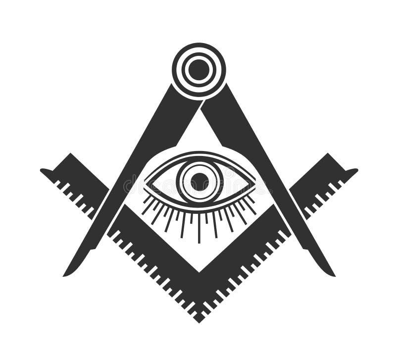 Logo massonico dell'icona dell'emblema di massoneria Illuminati tutto di vettore che vede occhio illustrazione di stock