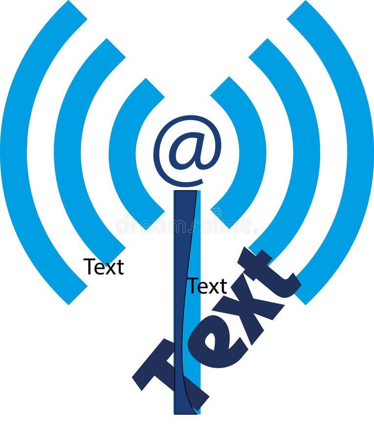 Logo med antennen Wifi, @ och stiliserad bokstav I royaltyfri illustrationer
