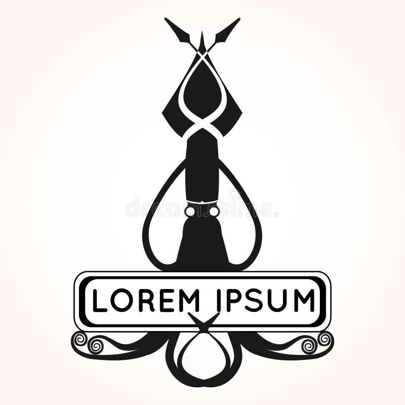 Logo med bläckfisken/tioarmade bläckfisken för restaurang stock illustrationer