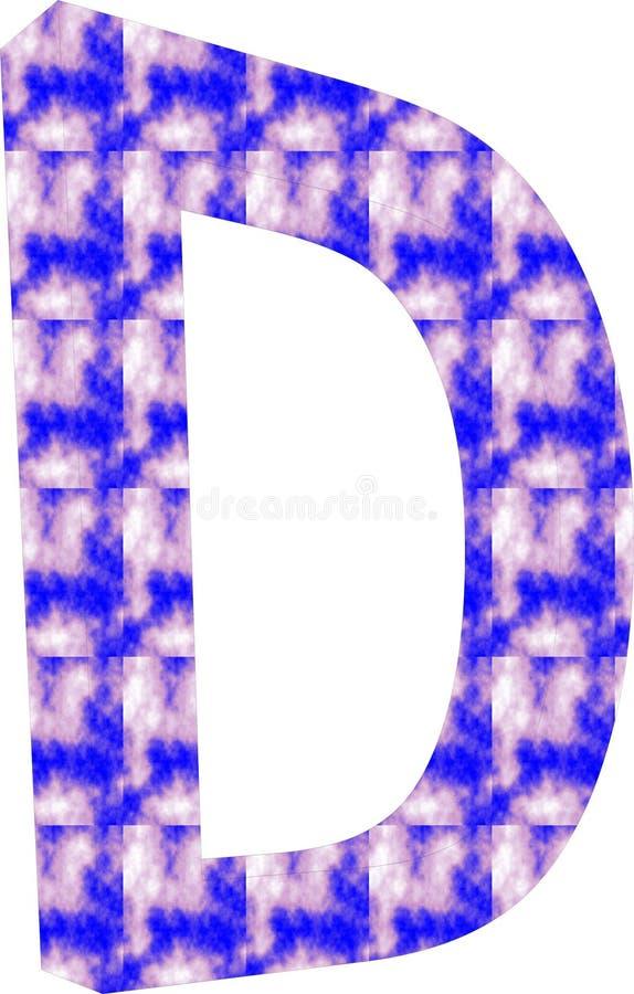 Logo med bokstav D blå & kräm- färg med effekt 3D stock illustrationer