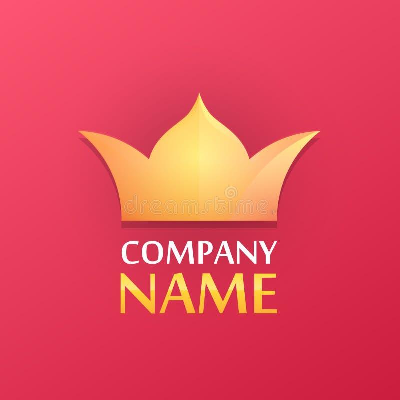 Logo med den guld- kronan stock illustrationer