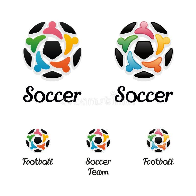 Logo med en fotbollboll och eniga folksymboler vektor illustrationer