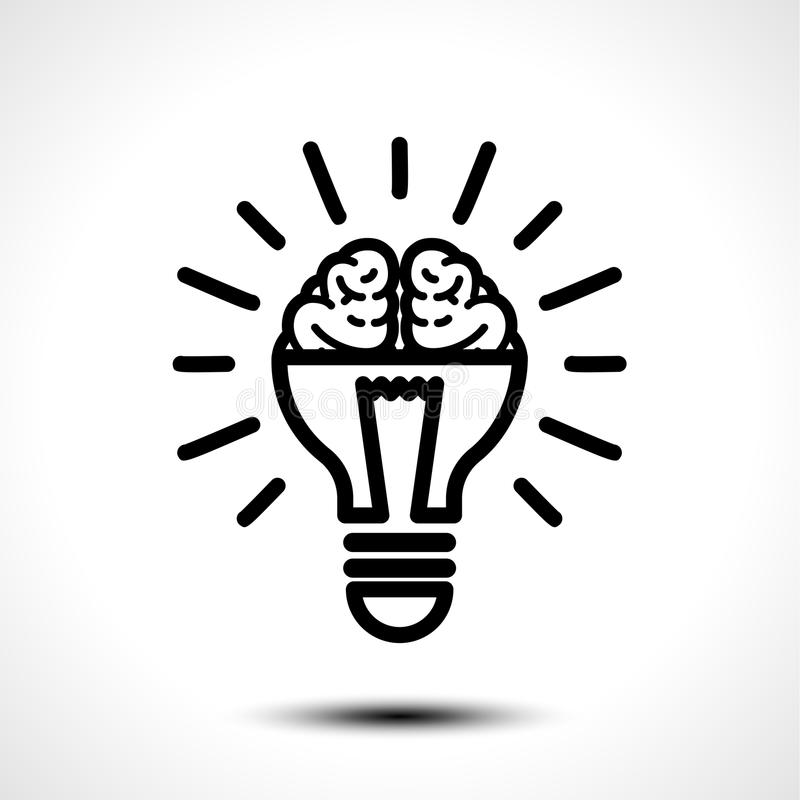 Logo med en halva av den ljusa kulan och hjärnan som isoleras på vit bakgrund Symbol av kreativitet, idérik idé, mening som tänke stock illustrationer
