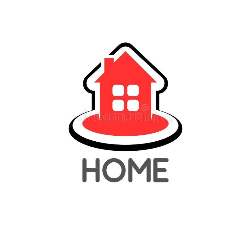 Logo med ett orange stugahus Vektorillustration för fastighet- och fast egendomföretag stock illustrationer
