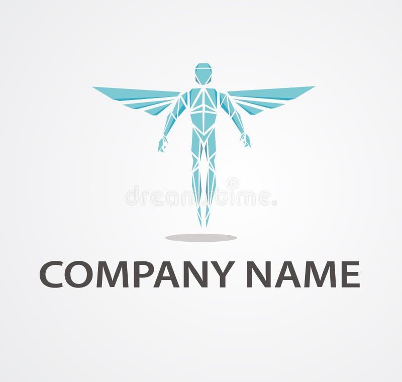 Logo med kiropraktorn stock illustrationer