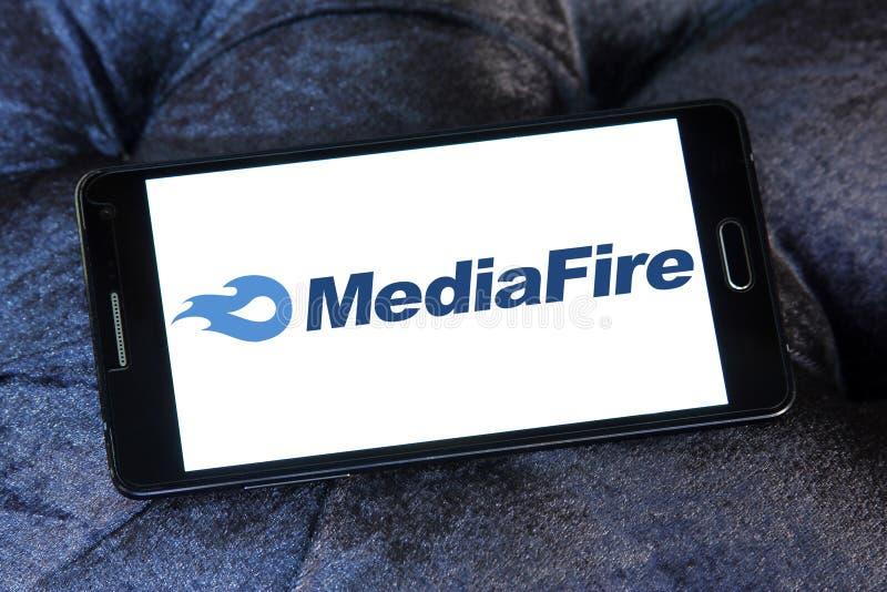 MediaFire file hosting website logo. Logo of MediaFire on samsung mobile. MediaFire is a file hosting, file synchronization, and cloud storage service royalty free stock images