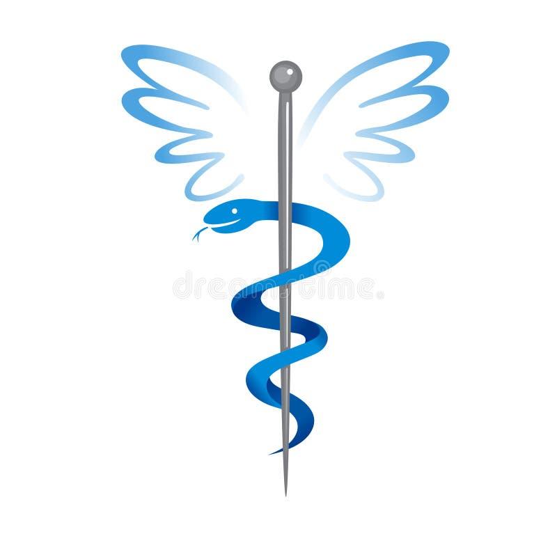 Logo medico del segno del caduceo royalty illustrazione gratis