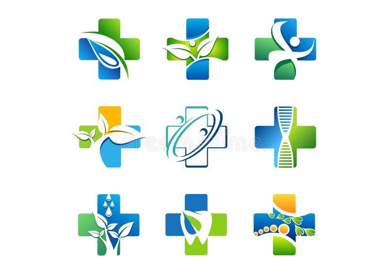 Logo medico della farmacia, icone della medicina di salute, progettazione naturale di vettore dell'erba di simbolo illustrazione di stock
