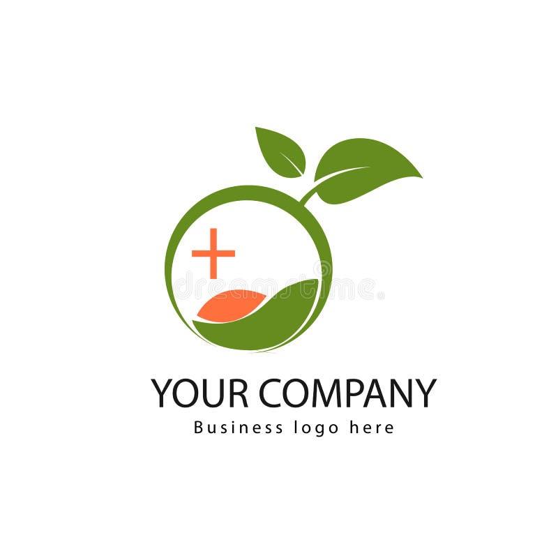 Logo medico organico semplice con le foglie illustrazione di stock