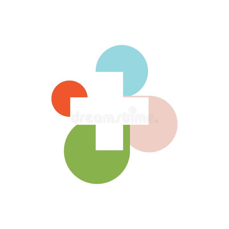 logo medico rotondo trasversale variopinto astratto segno religioso illustrazione vettoriale