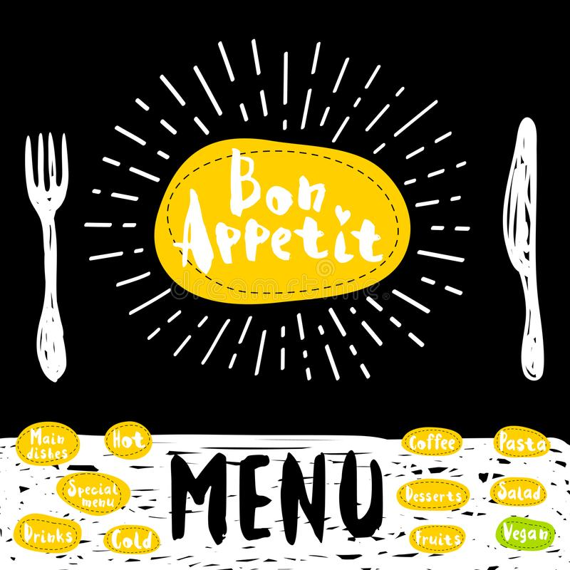 Logo menu set. Bon Appetit poster with fork and knife Lettering, calligraphy logo, sketch style, light rays heart, menu coffee, deserts, pasta, vegan, drinks vector illustration