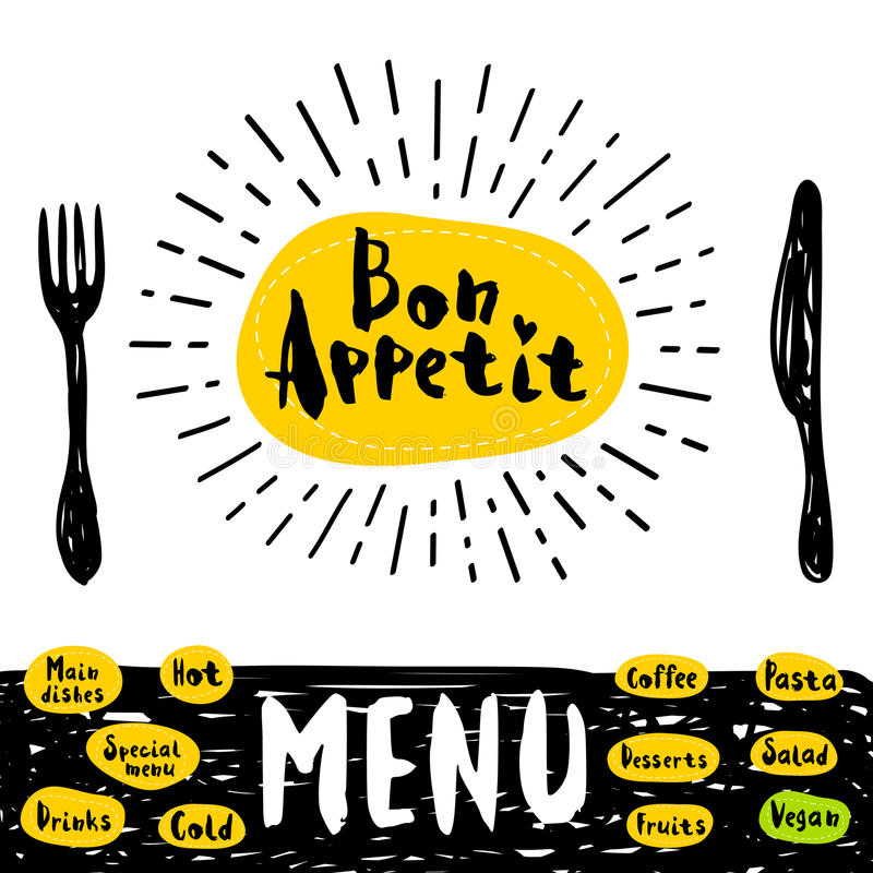 Logo menu set. Bon Appetit poster with fork and knife Lettering, calligraphy logo, sketch style, light rays, heart, menu, coffee, deserts, pasta, vegan, drinks stock illustration