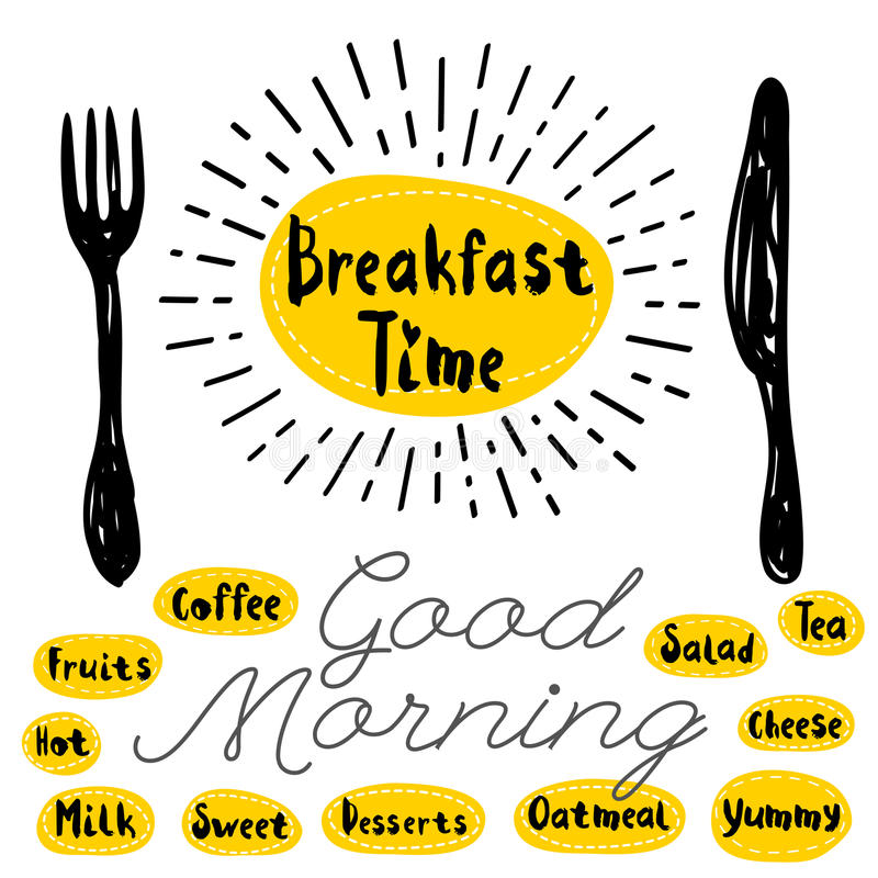 Logo menu set. Breakfast time logo fork knife good morning Lettering calligraphy logo sketch style, light rays, heart, tea, coffee, deserts, yummy, milk, salad vector illustration