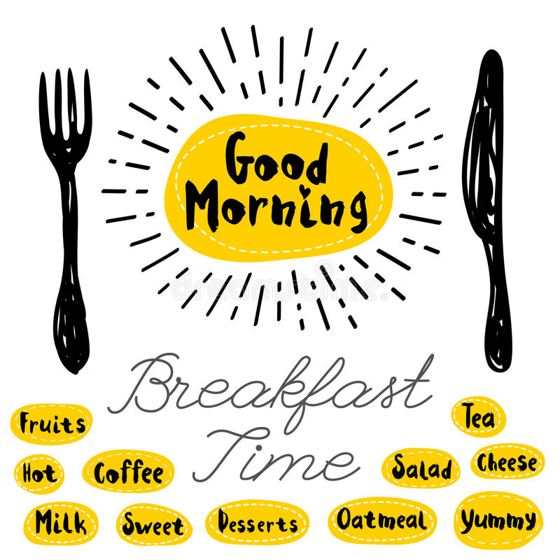 Logo menu set. Good morning logo, fork knife breakfast time Lettering calligraphy logo sketch style, light rays, heart, tea, coffee, deserts, yummy, milk, salad vector illustration