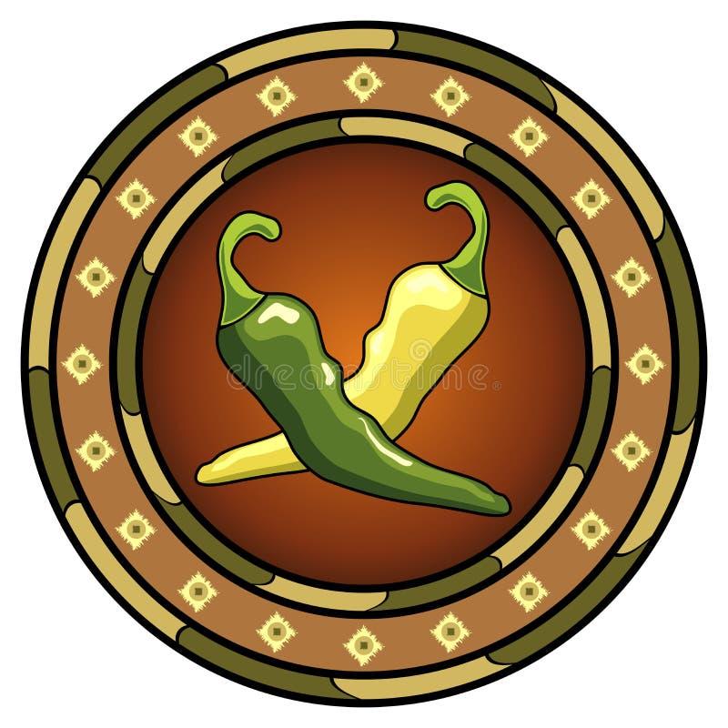 Logo mexicain de /poivron illustration stock
