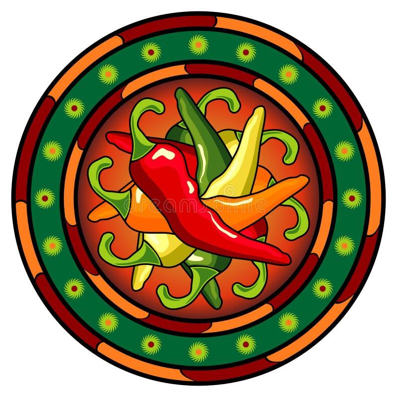 Logo mexicain de /poivron chaud illustration stock