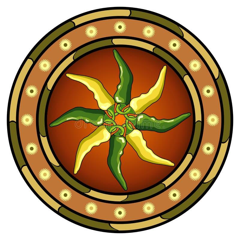 Logo mexicain de poivrons chauds illustration de vecteur