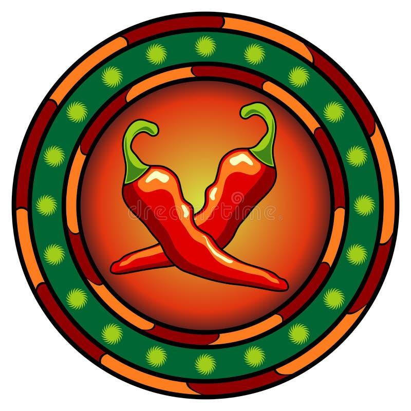 Logo mexicain de poivrons de /poivron illustration libre de droits