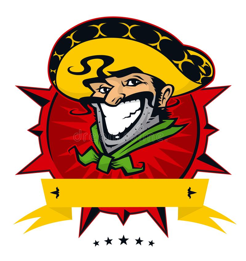 Logo of the Mexican restaurant. Character for Mexican cuisine. Vector flat illustration. Image is isolated on white background. stock image