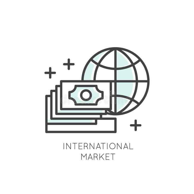 Logo Międzynarodowy biznes, zarządzanie, marketing, rynek, związek, Odosobniony Liniowy projekta pojęcie ilustracja wektor