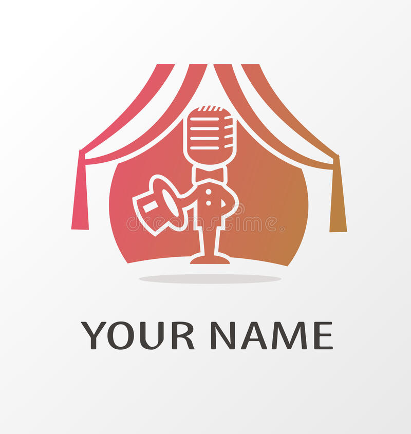 Logo with microphone on scene royalty free illustration