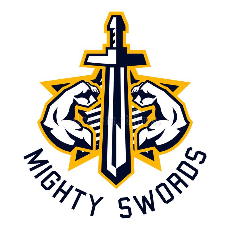Logo mighty swords. Muscular arms, sport and fitness. Vector illustration. Flat style. vector illustration