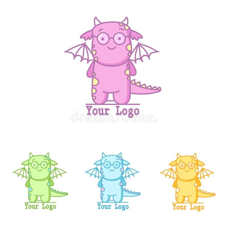 Logo mignon avec le dinosaure de vol Petit Dino dans différentes couleurs illustration de vecteur