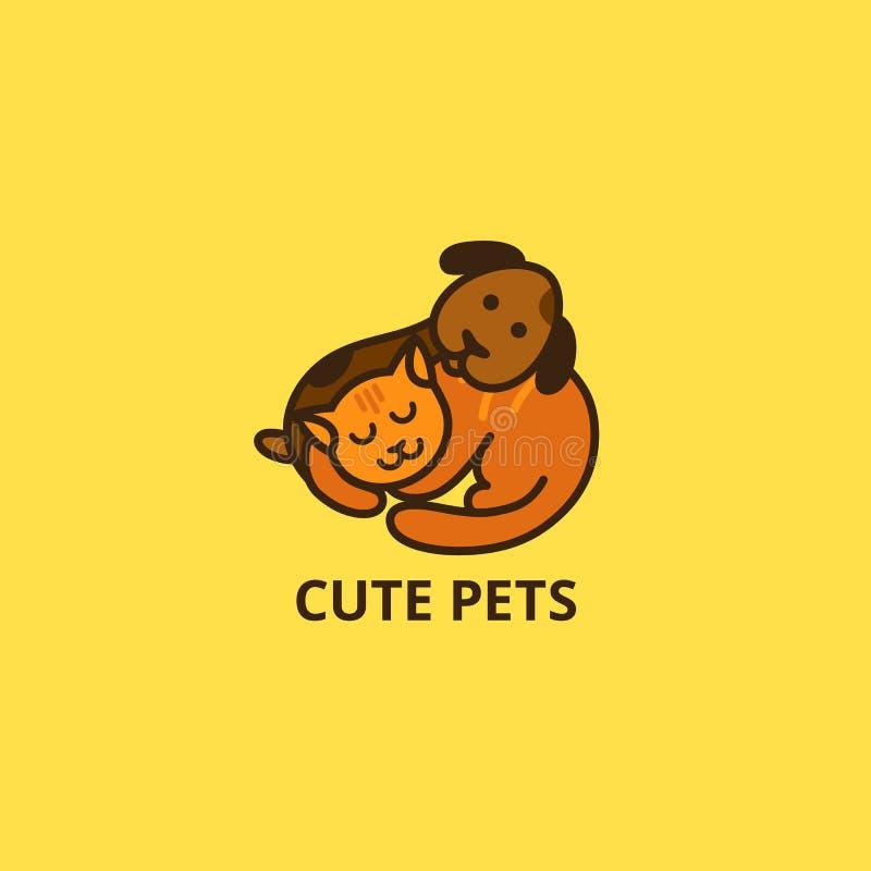 Logo mignon de chat et de chien de bande dessinée Les animaux familiers somnolents dirigent l'icône Peu chiot et Kitten Sleep Ill illustration libre de droits