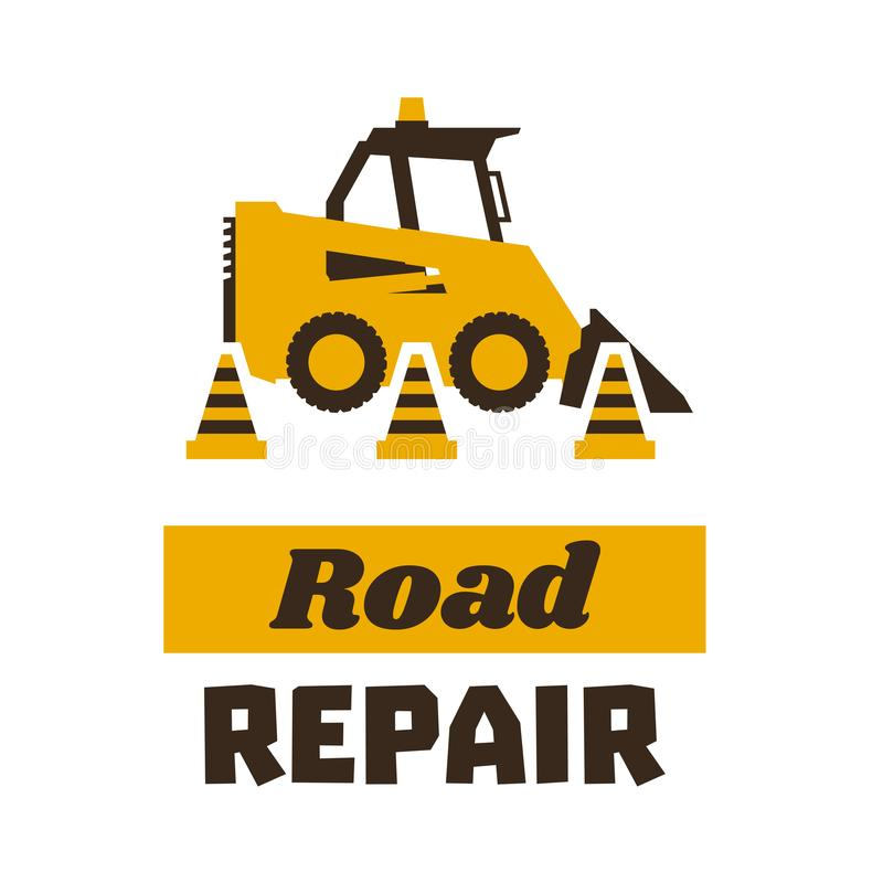 Logo mini loader, road repair. Asphalt processing works. Construction machinery. Traffic cone. Vector illustration. Flat royalty free illustration