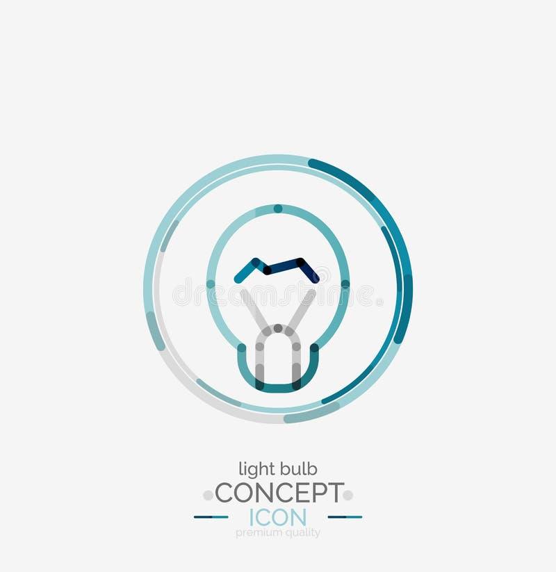Logo minimo di progettazione della lampadina illustrazione di stock