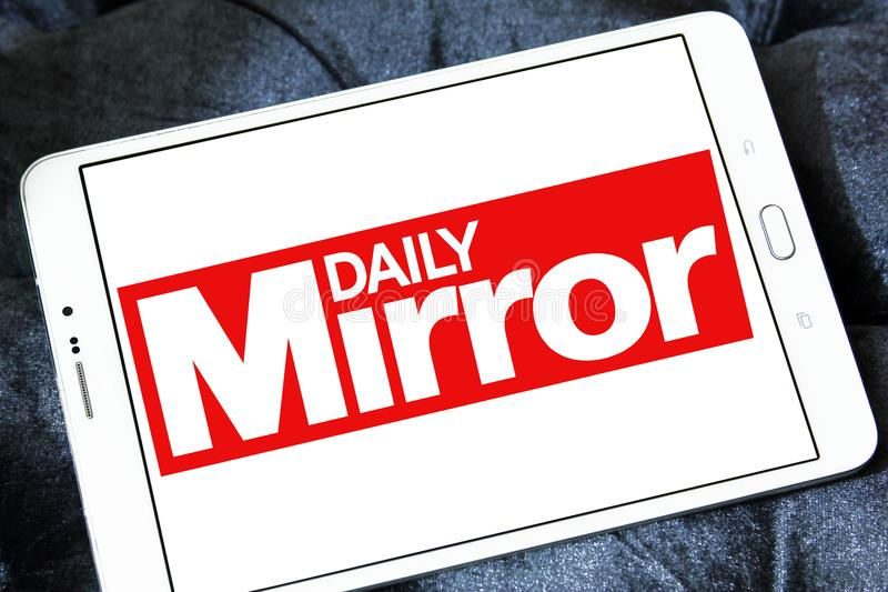 Daily Mirror newspaper logo. Logo of Daily Mirror newspaper on samsung tablet. The Daily Mirror is a British national daily tabloid newspaper founded in 1903 royalty free stock image