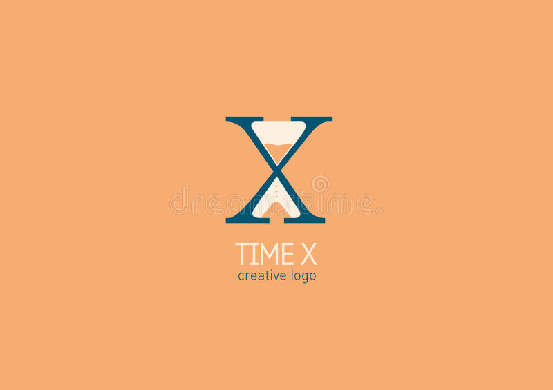 Logo mit einer doppelten Bedeutung, dem Buchstaben X und Sanduhr lizenzfreie abbildung